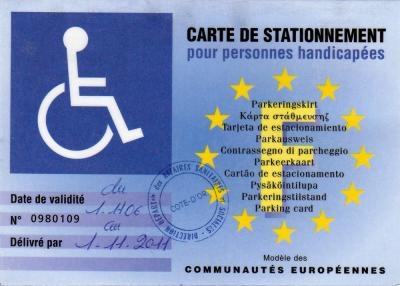 carte europ enne de stationnement pour personne handicap e. Black Bedroom Furniture Sets. Home Design Ideas