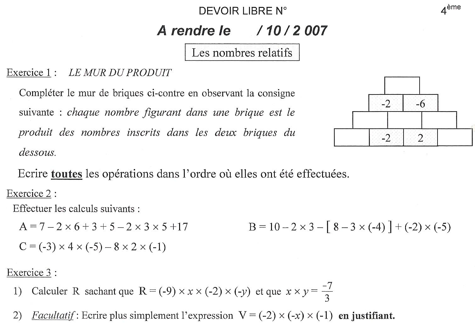 solution exercice math 4eme