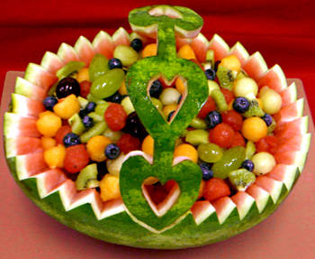 carving basket with watermelon.