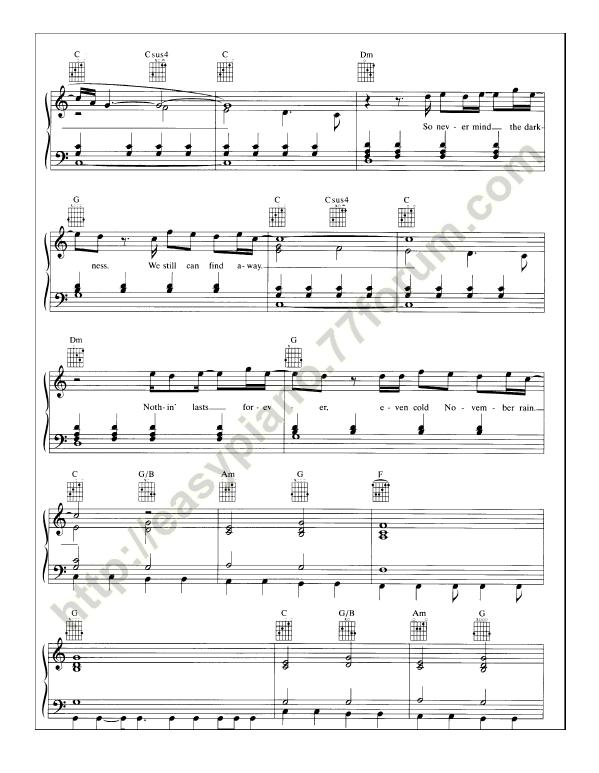 how to play november rain on piano easy