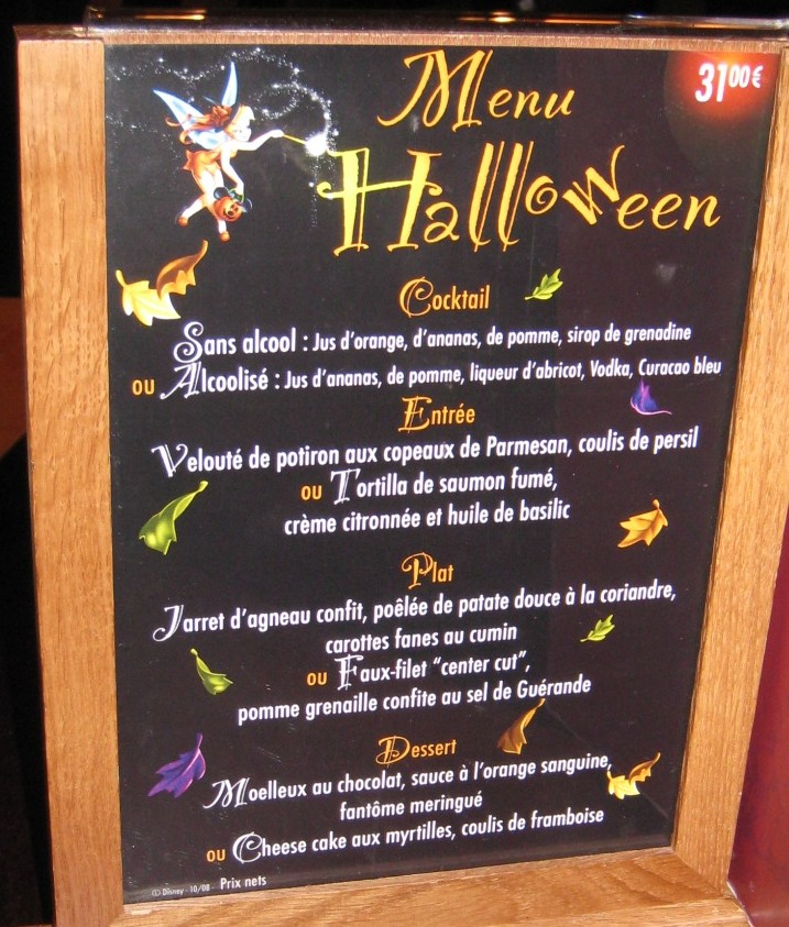 Menu sp cial halloween au walt 39 s et au silver spur for Table 52 gaborone menu